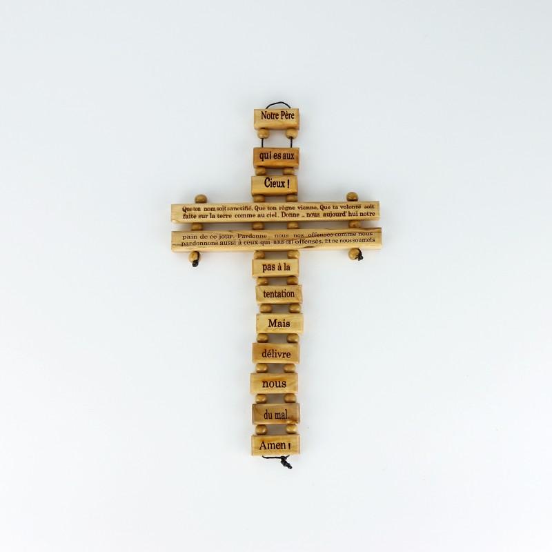 Notre Père , Croix en bois d'olivier, 22 cm