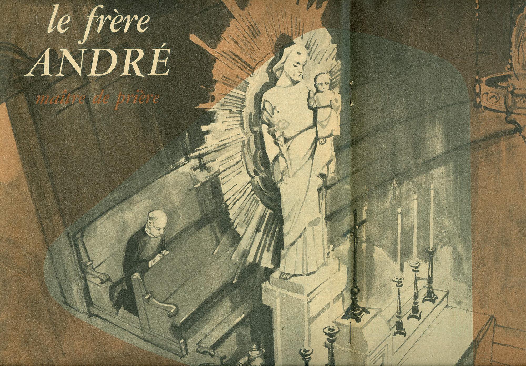 Le prie-Dieu de frère André - Illustration de Jacques Gagnier, publiée dans la revue L'Oratoire, juillet 1958.