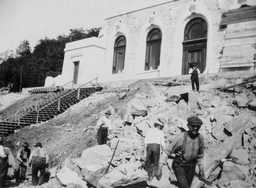 1917 - Laborers working on the construction of the Crypt Church, which will be inaugurated on December 16, 1917.