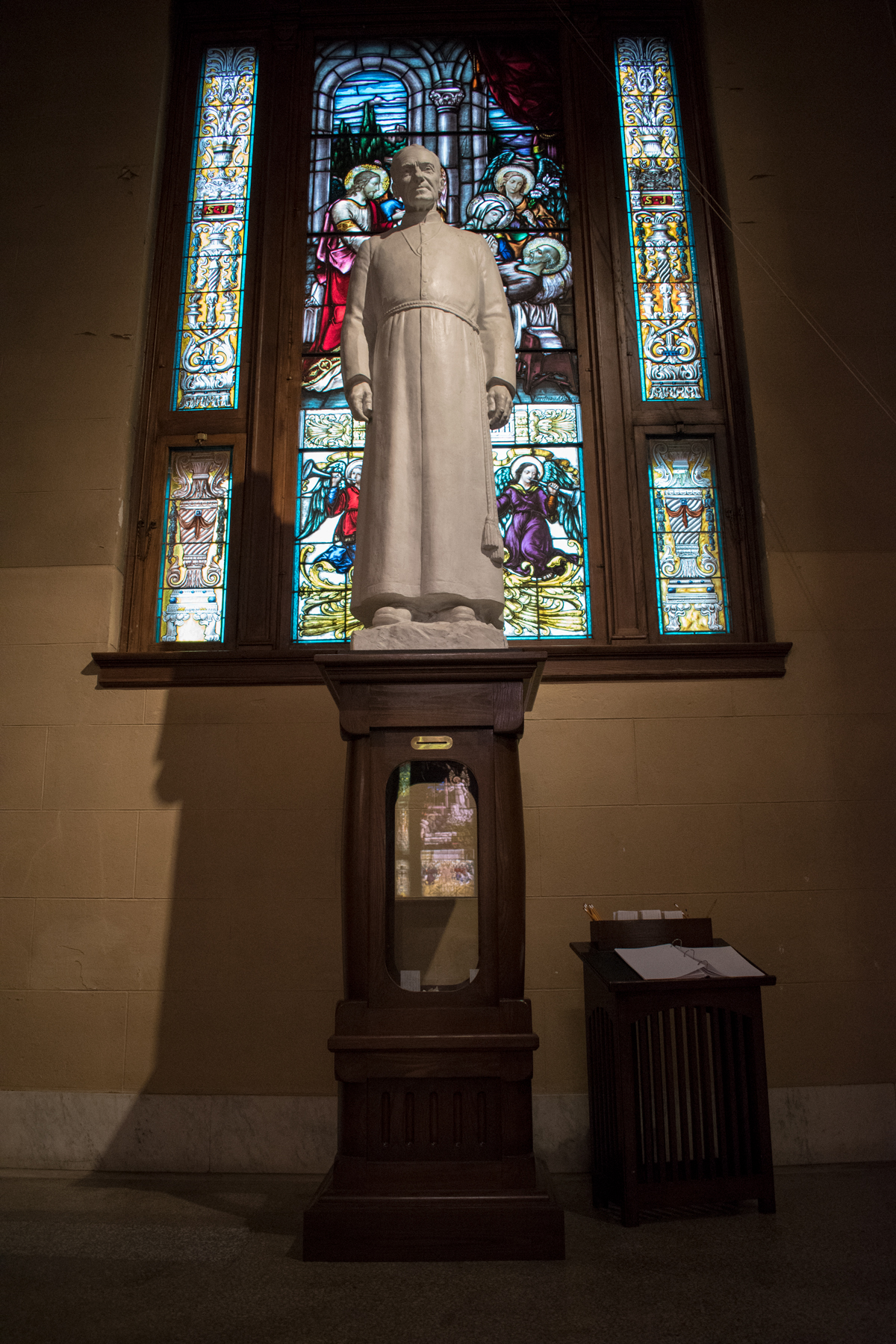Statue of Saint Brother André in the Crypt Church at Saint Joseph's Oratory, November 2017