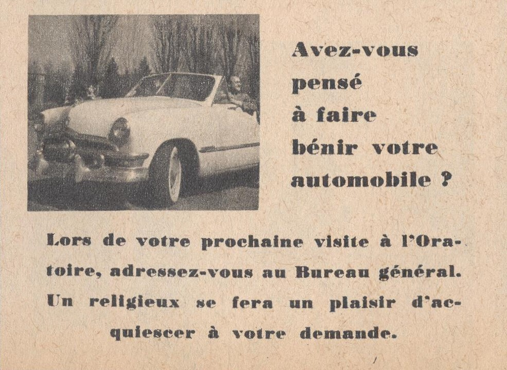 Publicité à la page 15, du numéro de juillet-août 1957 de L'Oratoire.