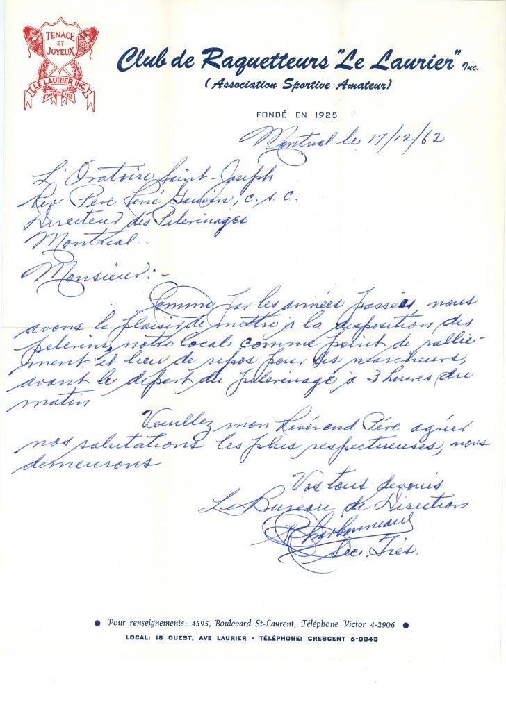 Fig. 2 - Lettre de Raoul Charbonneau
