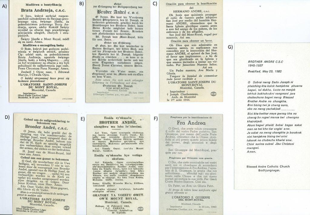 Images pieuses du frère André en diverses langues.